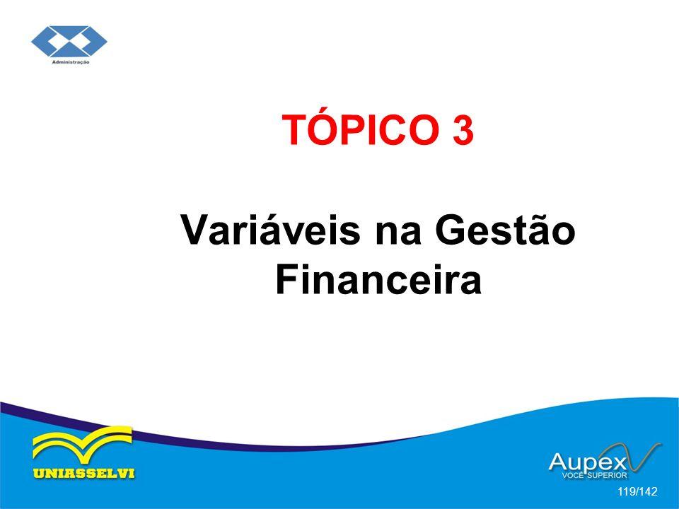 TÓPICO 3 Variáveis na Gestão Financeira 119/142
