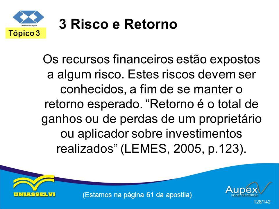 (Estamos na página 61 da apostila) 128/142 Tópico 3 Os recursos financeiros estão expostos a algum risco.