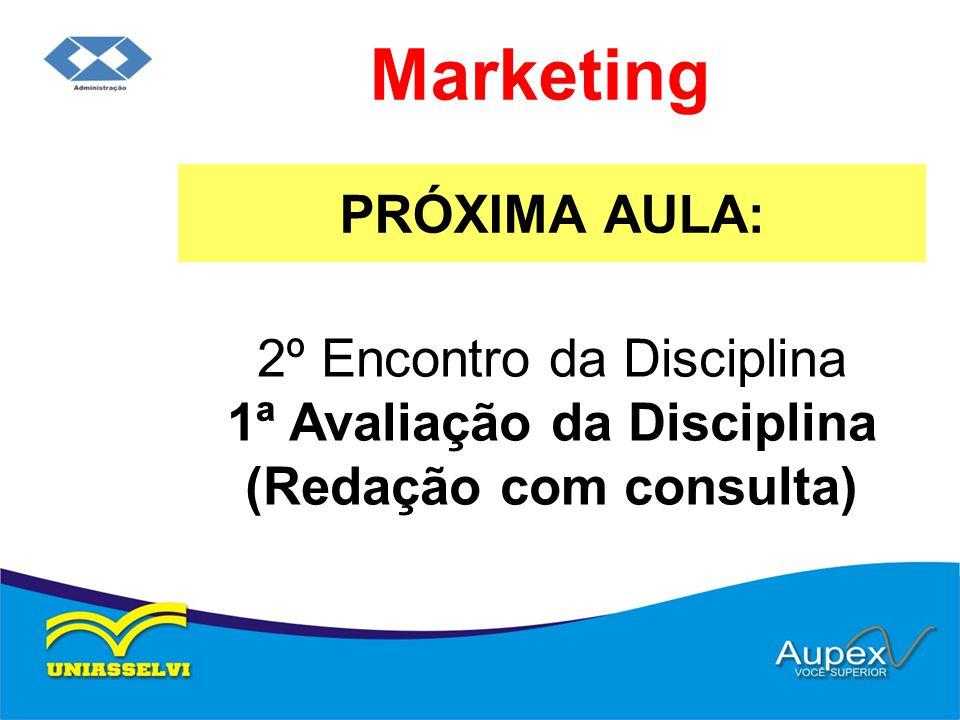 PRÓXIMA AULA: Marketing 2º Encontro da Disciplina 1ª Avaliação da Disciplina (Redação com consulta)