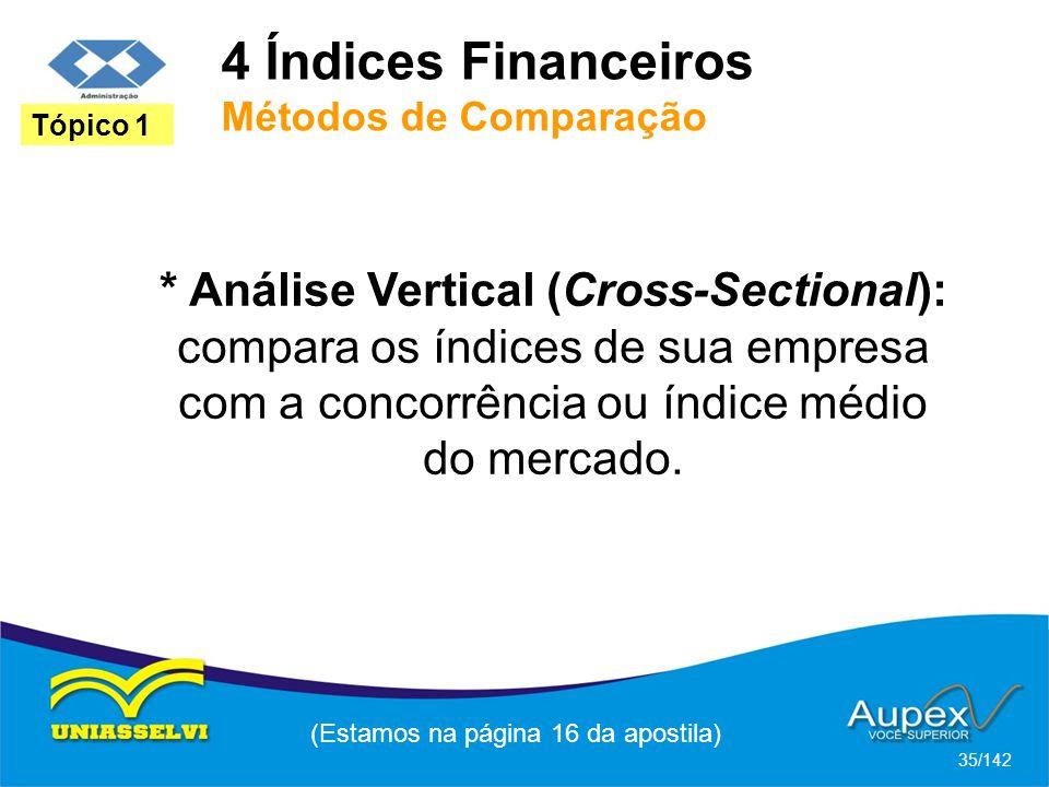 4 Índices Financeiros Métodos de Comparação (Estamos na página 16 da apostila) 35/142 Tópico 1 * Análise Vertical (Cross-Sectional): compara os índices de sua empresa com a concorrência ou índice médio do mercado.