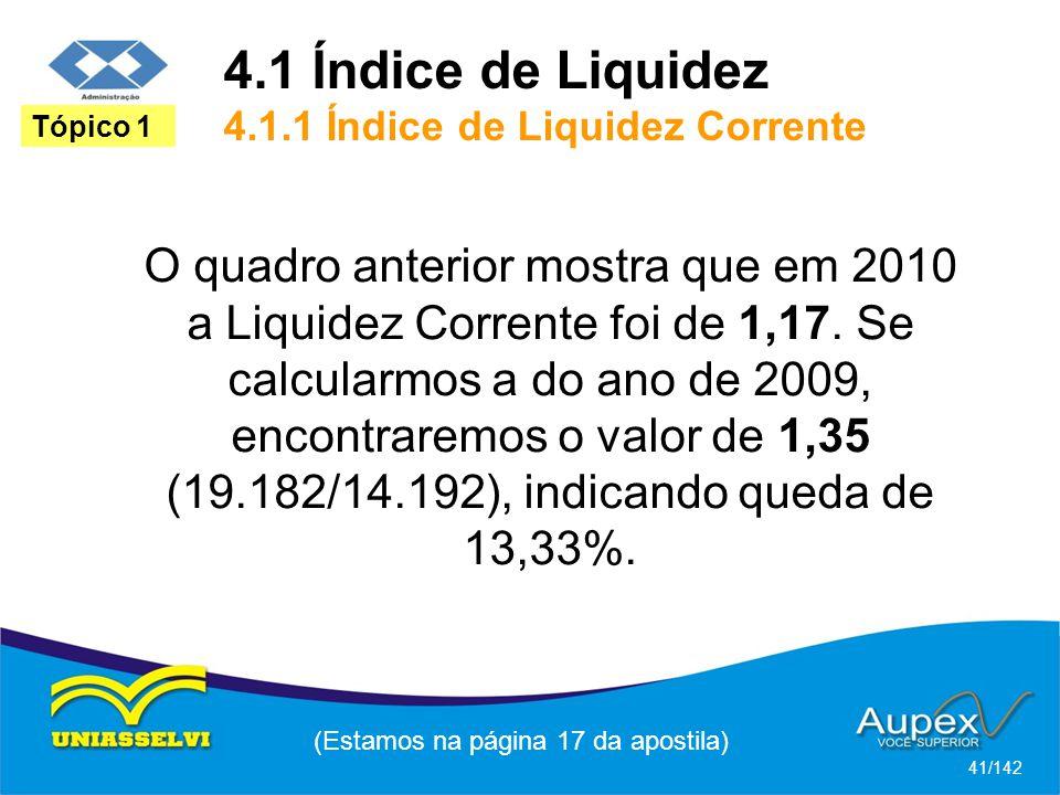 4.1 Índice de Liquidez 4.1.1 Índice de Liquidez Corrente (Estamos na página 17 da apostila) 41/142 Tópico 1 O quadro anterior mostra que em 2010 a Liquidez Corrente foi de 1,17.