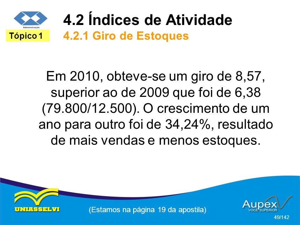 4.2 Índices de Atividade 4.2.1 Giro de Estoques (Estamos na página 19 da apostila) 49/142 Tópico 1 Em 2010, obteve-se um giro de 8,57, superior ao de 2009 que foi de 6,38 (79.800/12.500).