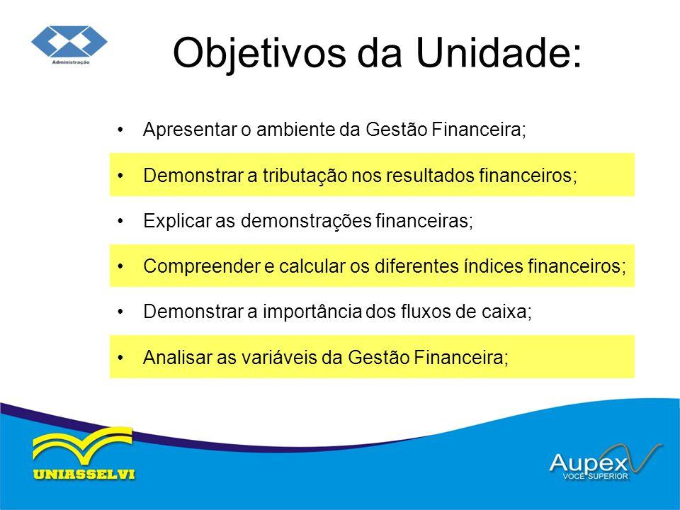 Objetivos da Unidade: Apresentar o ambiente da Gestão Financeira; Demonstrar a tributação nos resultados financeiros; Explicar as demonstrações financeiras; Compreender e calcular os diferentes índices financeiros; Demonstrar a importância dos fluxos de caixa; Analisar as variáveis da Gestão Financeira;