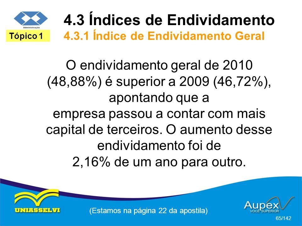 (Estamos na página 22 da apostila) 65/142 Tópico 1 O endividamento geral de 2010 (48,88%) é superior a 2009 (46,72%), apontando que a empresa passou a contar com mais capital de terceiros.