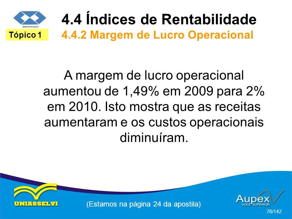(Estamos na página 24 da apostila) 76/142 Tópico 1 A margem de lucro operacional aumentou de 1,49% em 2009 para 2% em 2010.
