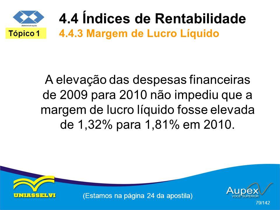 (Estamos na página 24 da apostila) 79/142 Tópico 1 A elevação das despesas financeiras de 2009 para 2010 não impediu que a margem de lucro líquido fosse elevada de 1,32% para 1,81% em 2010.