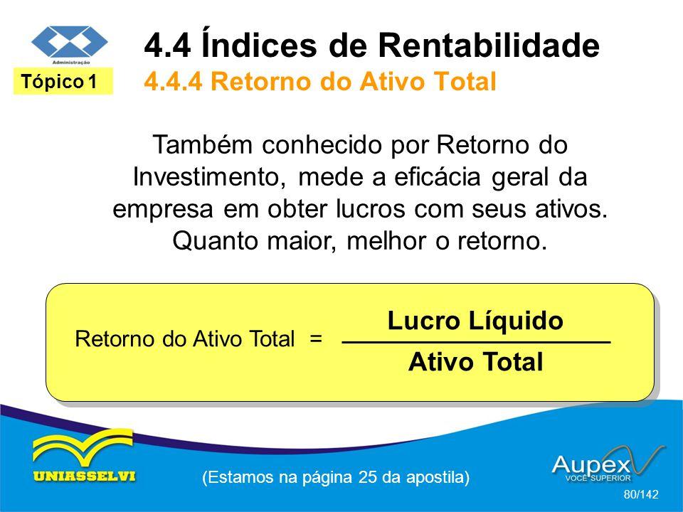 (Estamos na página 25 da apostila) 80/142 Tópico 1 Também conhecido por Retorno do Investimento, mede a eficácia geral da empresa em obter lucros com seus ativos.