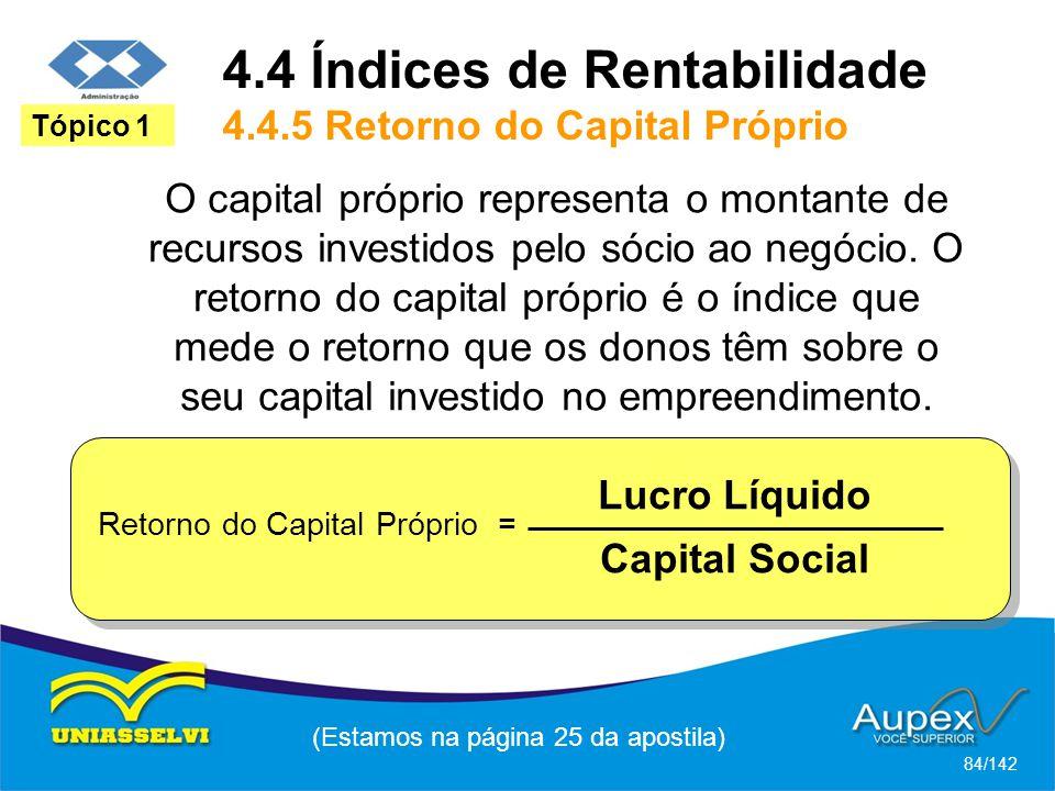 (Estamos na página 25 da apostila) 84/142 Tópico 1 O capital próprio representa o montante de recursos investidos pelo sócio ao negócio.