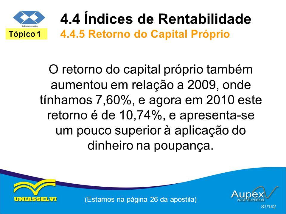 (Estamos na página 26 da apostila) 87/142 Tópico 1 O retorno do capital próprio também aumentou em relação a 2009, onde tínhamos 7,60%, e agora em 2010 este retorno é de 10,74%, e apresenta-se um pouco superior à aplicação do dinheiro na poupança.