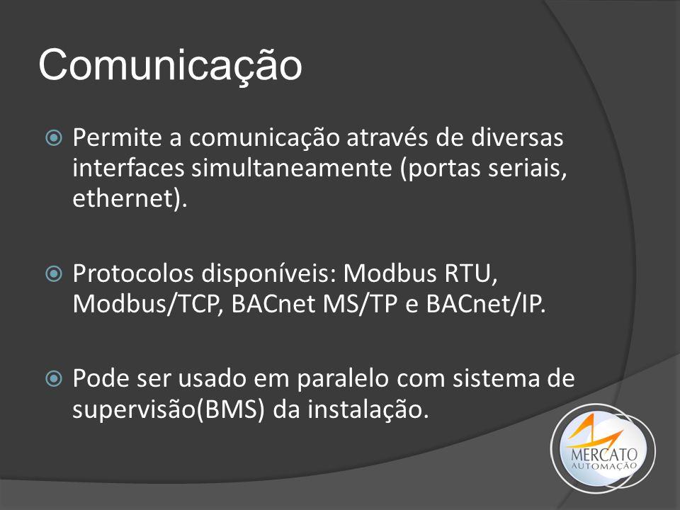 Comunicação  Permite a comunicação através de diversas interfaces simultaneamente (portas seriais, ethernet).  Protocolos disponíveis: Modbus RTU, M