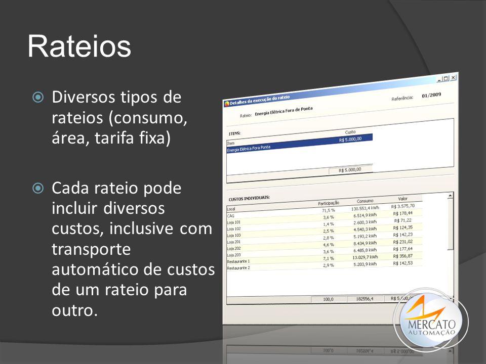 Rateios  Diversos tipos de rateios (consumo, área, tarifa fixa)  Cada rateio pode incluir diversos custos, inclusive com transporte automático de cu