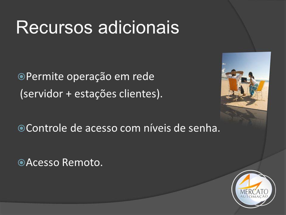 Recursos adicionais  Permite operação em rede (servidor + estações clientes).  Controle de acesso com níveis de senha.  Acesso Remoto.