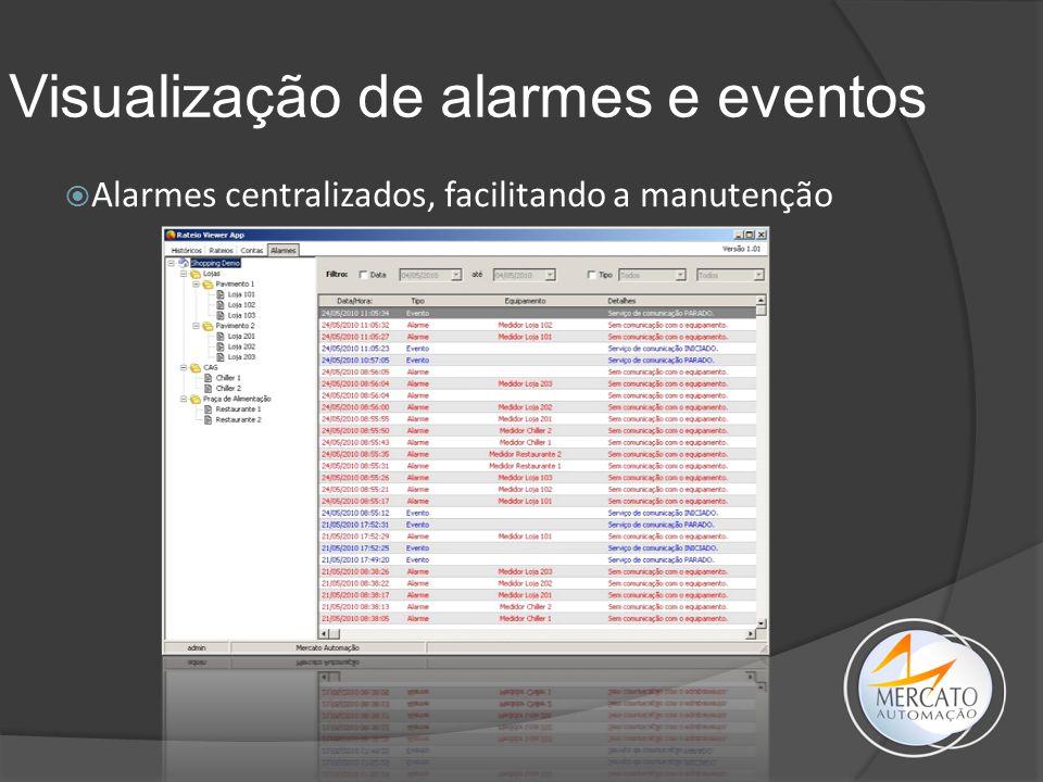 Visualização de alarmes e eventos  Alarmes centralizados, facilitando a manutenção