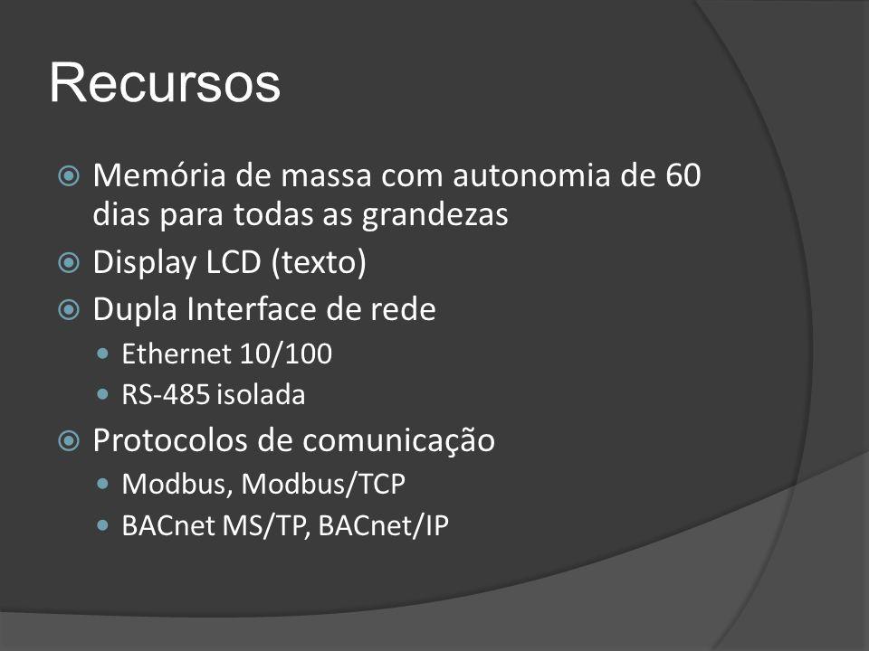 Recursos  Memória de massa com autonomia de 60 dias para todas as grandezas  Display LCD (texto)  Dupla Interface de rede Ethernet 10/100 RS-485 is