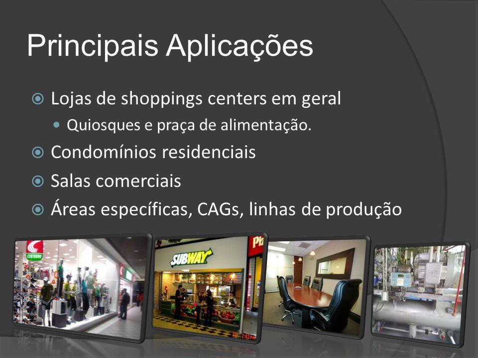 Principais Aplicações  Lojas de shoppings centers em geral Quiosques e praça de alimentação.  Condomínios residenciais  Salas comerciais  Áreas es