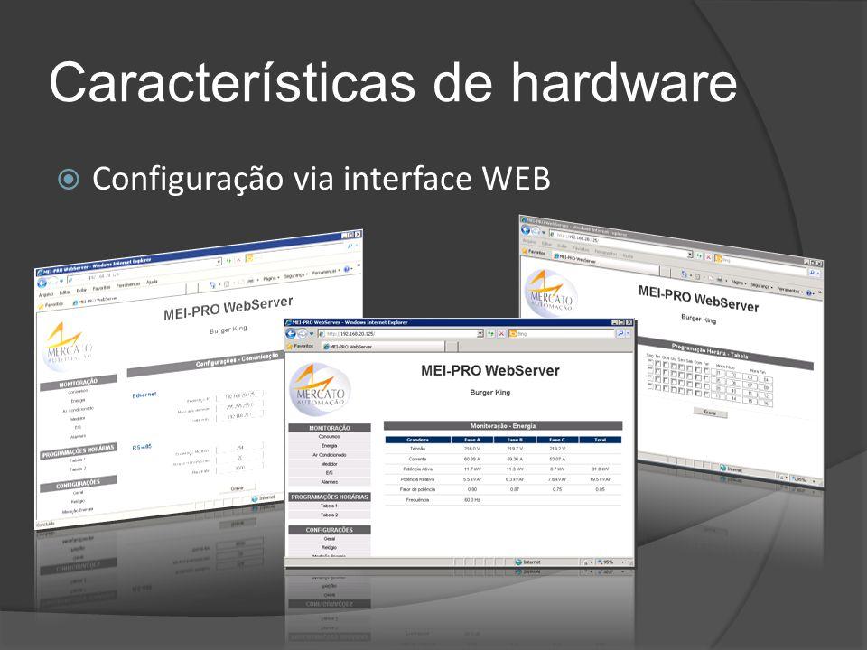 Características de hardware  Configuração via interface WEB
