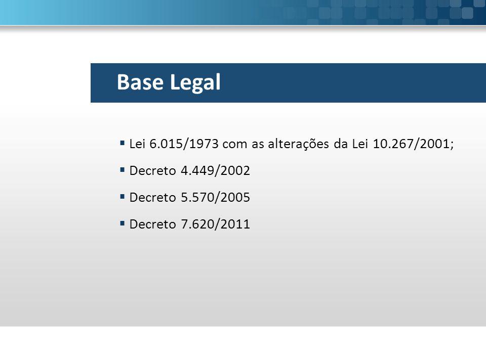 Base Legal  Lei 6.015/1973 com as alterações da Lei 10.267/2001;  Decreto 4.449/2002  Decreto 5.570/2005  Decreto 7.620/2011