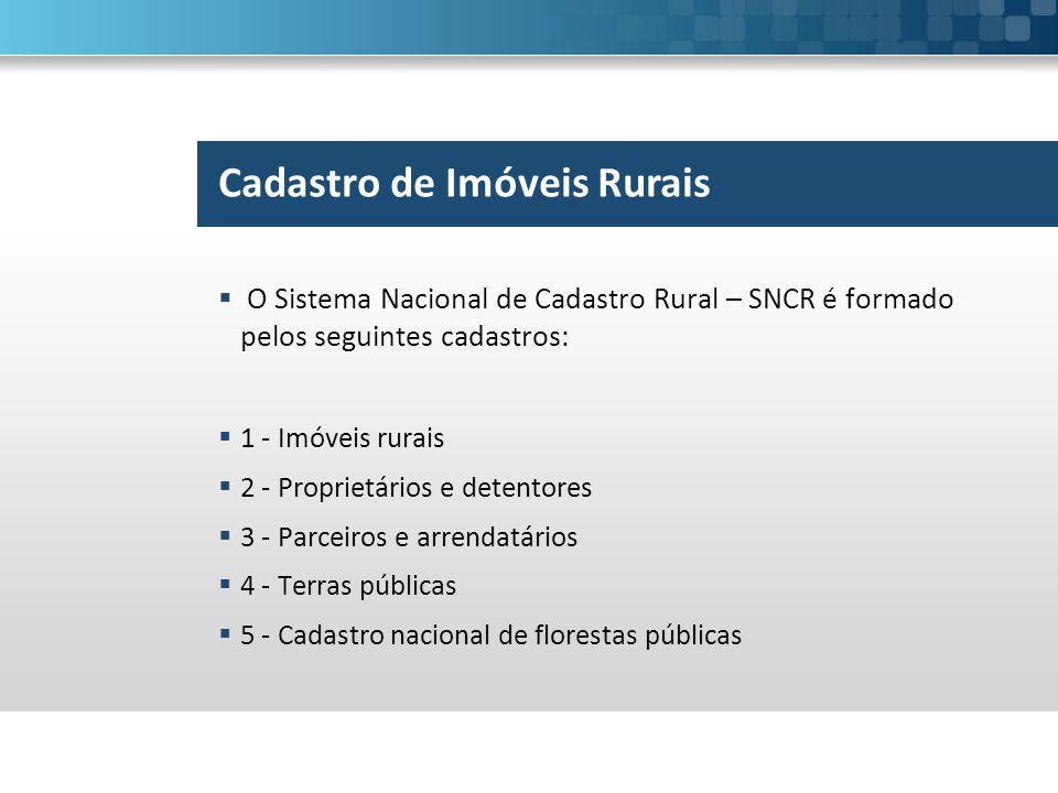  O Sistema Nacional de Cadastro Rural – SNCR é formado pelos seguintes cadastros:  1 - Imóveis rurais  2 - Proprietários e detentores  3 - Parceir