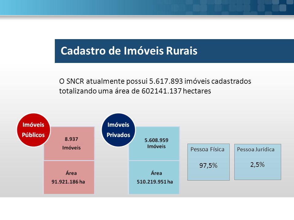 O SNCR atualmente possui 5.617.893 imóveis cadastrados totalizando uma área de 602141.137 hectares Pessoa Física 97,5% Pessoa Jurídica 2,5%