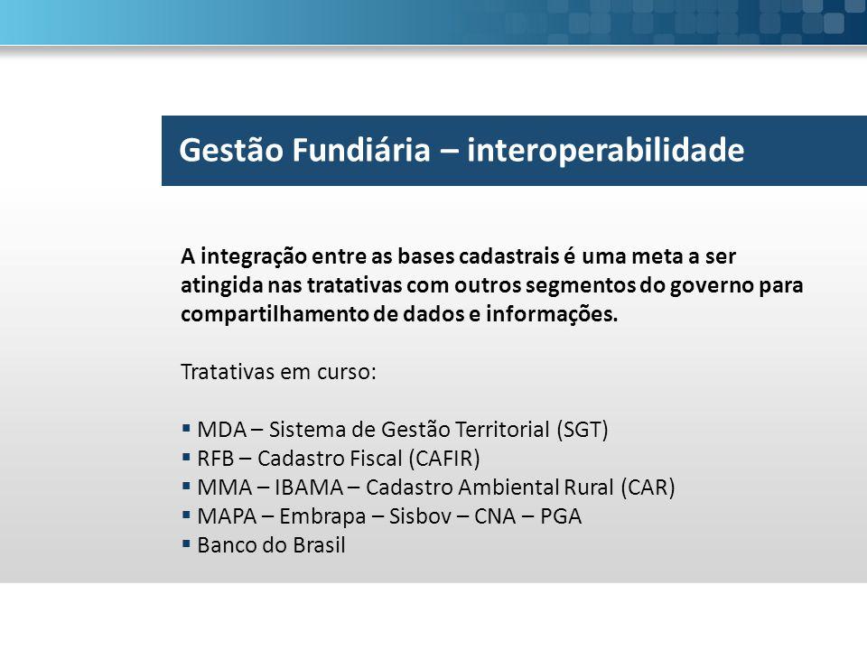 Gestão Fundiária – interoperabilidade A integração entre as bases cadastrais é uma meta a ser atingida nas tratativas com outros segmentos do governo para compartilhamento de dados e informações.