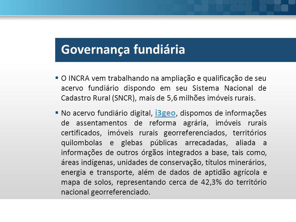  O INCRA vem trabalhando na ampliação e qualificação de seu acervo fundiário dispondo em seu Sistema Nacional de Cadastro Rural (SNCR), mais de 5,6 milhões imóveis rurais.