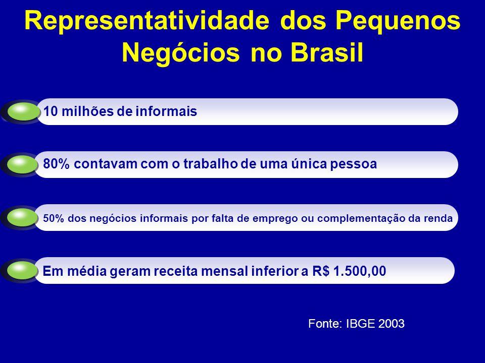 Distribuição das empresas informais, segundo o nº de pessoas ocupadas nas empresas – Brasil 2003 (%) Raio X da Informalidade Fonte: Pesquisa Economia Informal Urbana – Ecinf 2003, IBGE