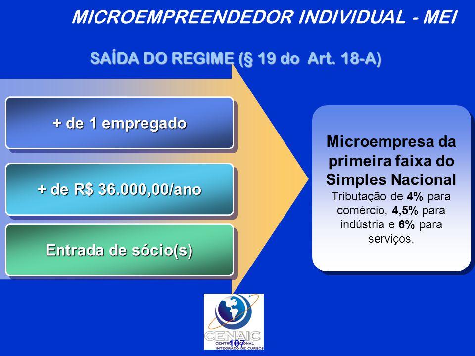 107 + de 1 empregado + de R$ 36.000,00/ano Entrada de sócio(s) Microempresa da primeira faixa do Simples Nacional Tributação de 4% para comércio, 4,5% para indústria e 6% para serviços.