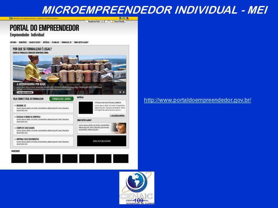 109 http://www.portaldoempreendedor.gov.br/ MICROEMPREENDEDOR INDIVIDUAL - MEI