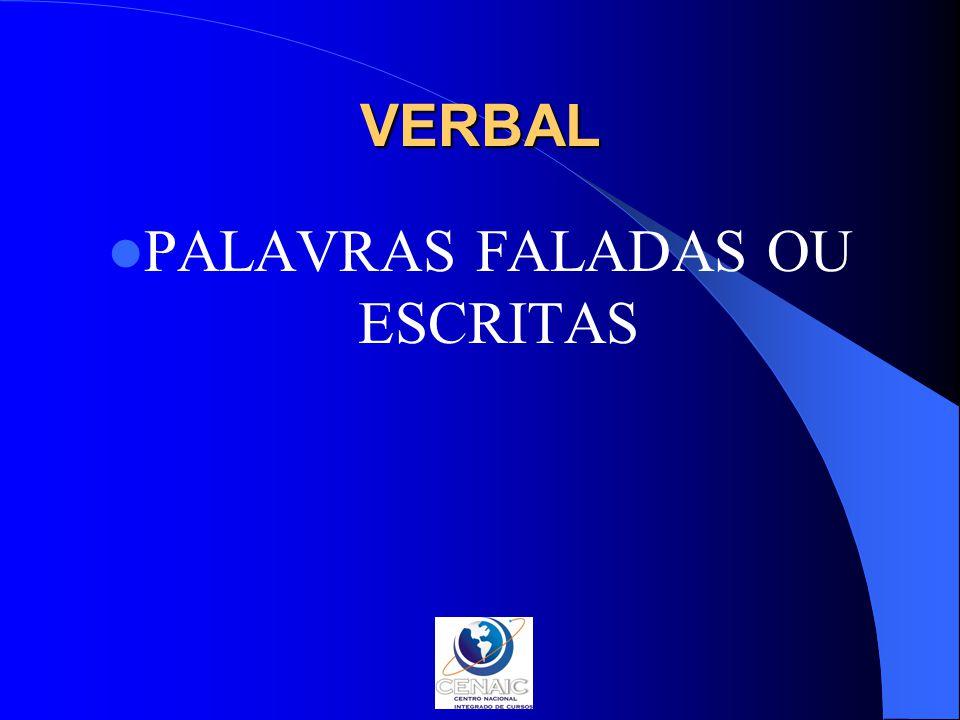 VERBAL PALAVRAS FALADAS OU ESCRITAS