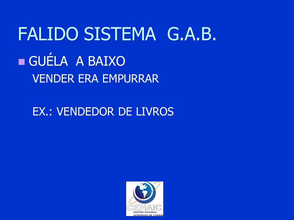 FALIDO SISTEMA G.A.B. GUÉLA A BAIXO VENDER ERA EMPURRAR EX.: VENDEDOR DE LIVROS