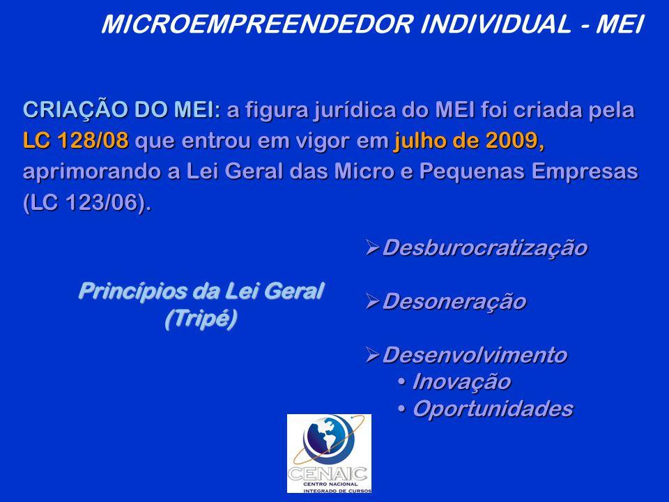 Princípios da Lei Geral (Tripé)  Desburocratização  Desoneração  Desenvolvimento Inovação Inovação Oportunidades Oportunidades CRIAÇÃO DO MEI: a figura jurídica do MEI foi criada pela LC 128/08 que entrou em vigor em julho de 2009, aprimorando a Lei Geral das Micro e Pequenas Empresas (LC 123/06).