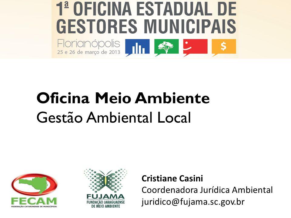 Oficina Meio Ambiente Gestão Ambiental Local Cristiane Casini Coordenadora Jurídica Ambiental juridico@fujama.sc.gov.br