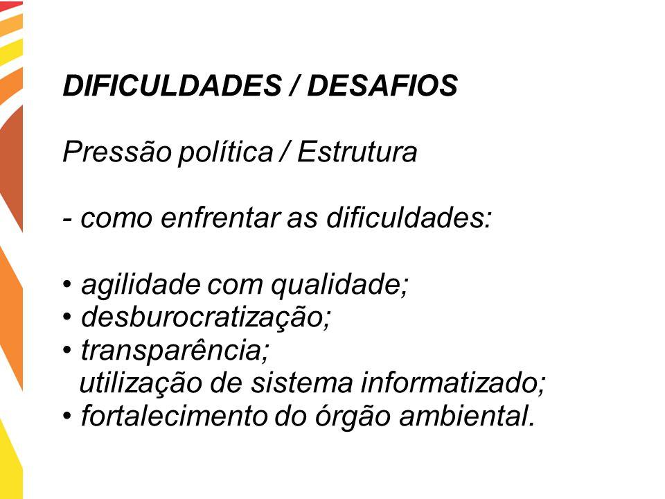 DIFICULDADES / DESAFIOS Pressão política / Estrutura - como enfrentar as dificuldades: agilidade com qualidade; desburocratização; transparência; util