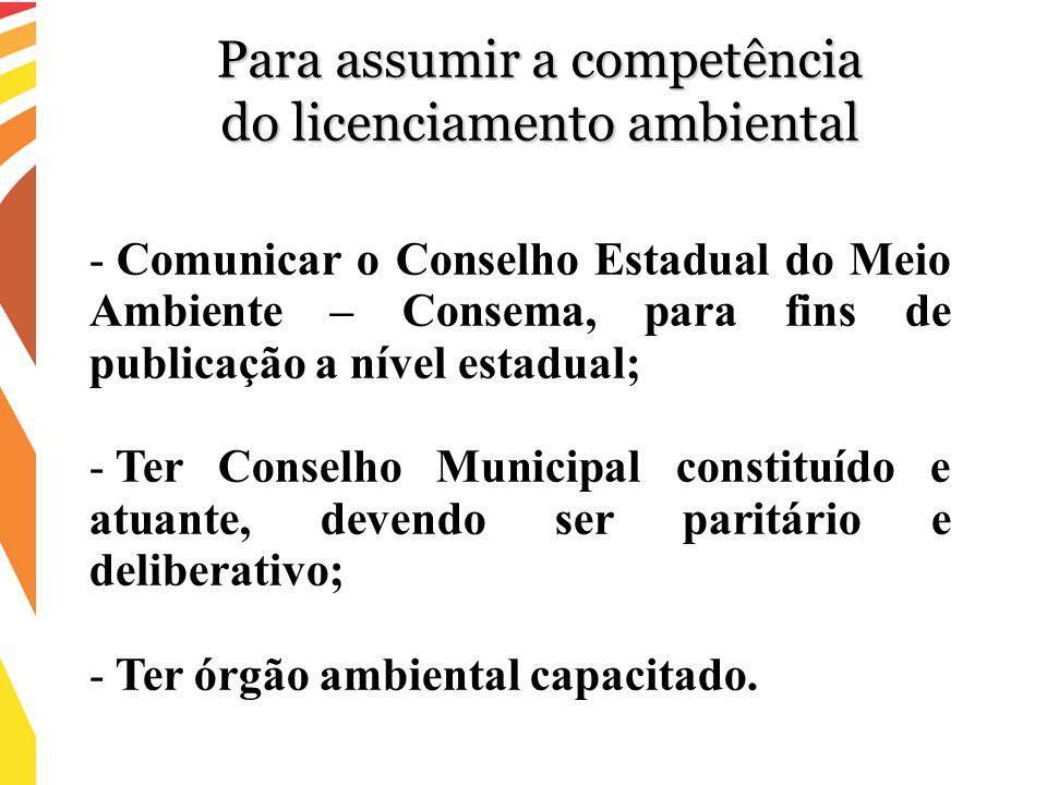 - Comunicar o Conselho Estadual do Meio Ambiente – Consema, para fins de publicação a nível estadual; - Ter Conselho Municipal constituído e atuante,