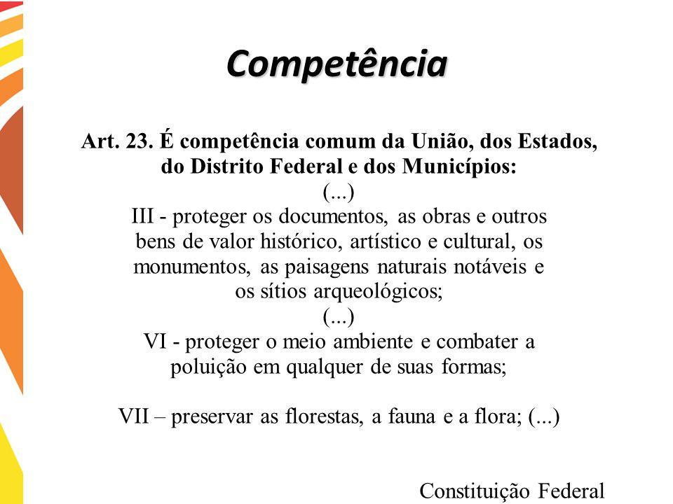 Art. 23. É competência comum da União, dos Estados, do Distrito Federal e dos Municípios: (...) III - proteger os documentos, as obras e outros bens d