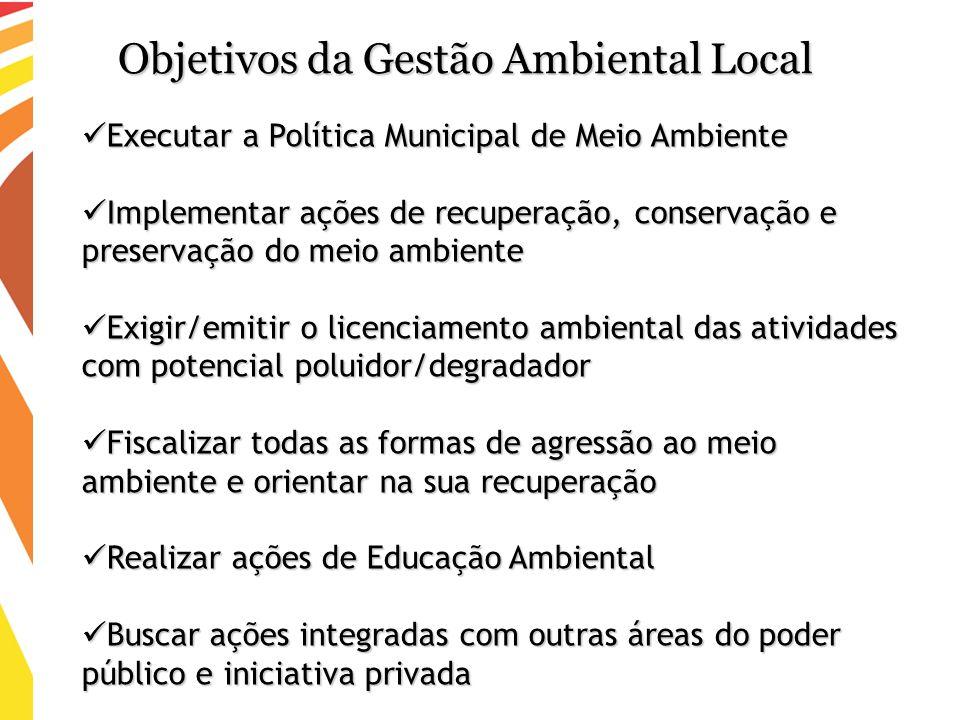 Executar a Política Municipal de Meio Ambiente Executar a Política Municipal de Meio Ambiente Implementar ações de recuperação, conservação e preserva