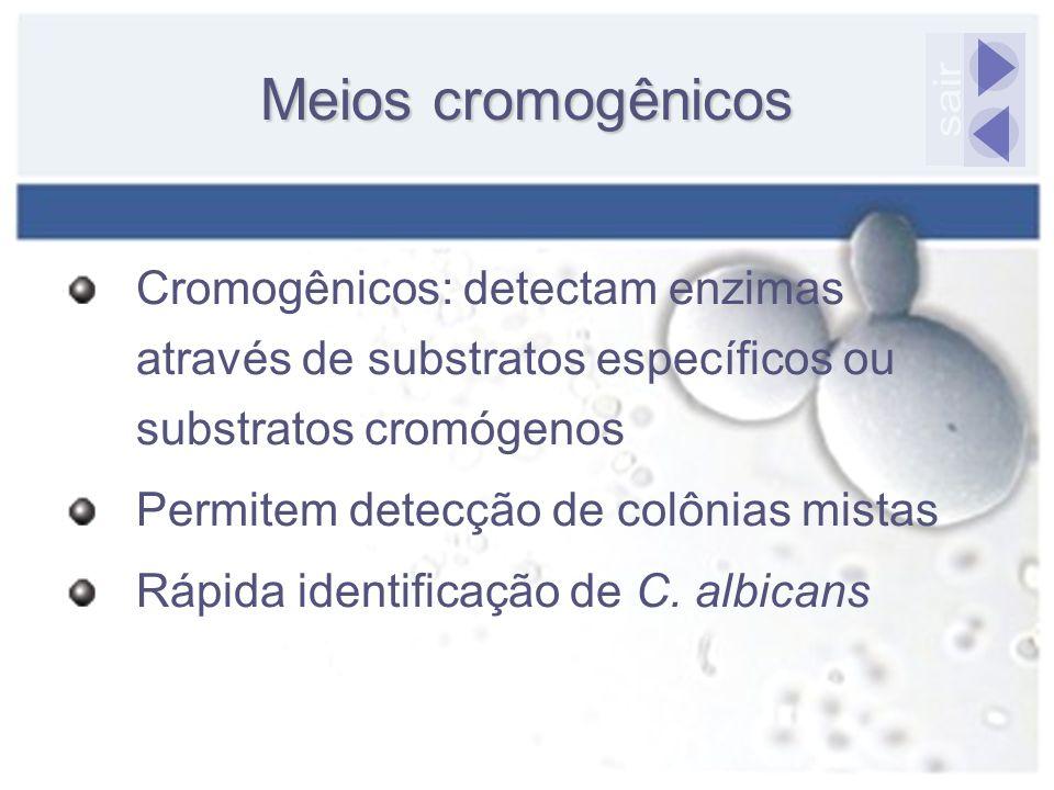 Meios cromogênicos Cromogênicos: detectam enzimas através de substratos específicos ou substratos cromógenos Permitem detecção de colônias mistas Rápi