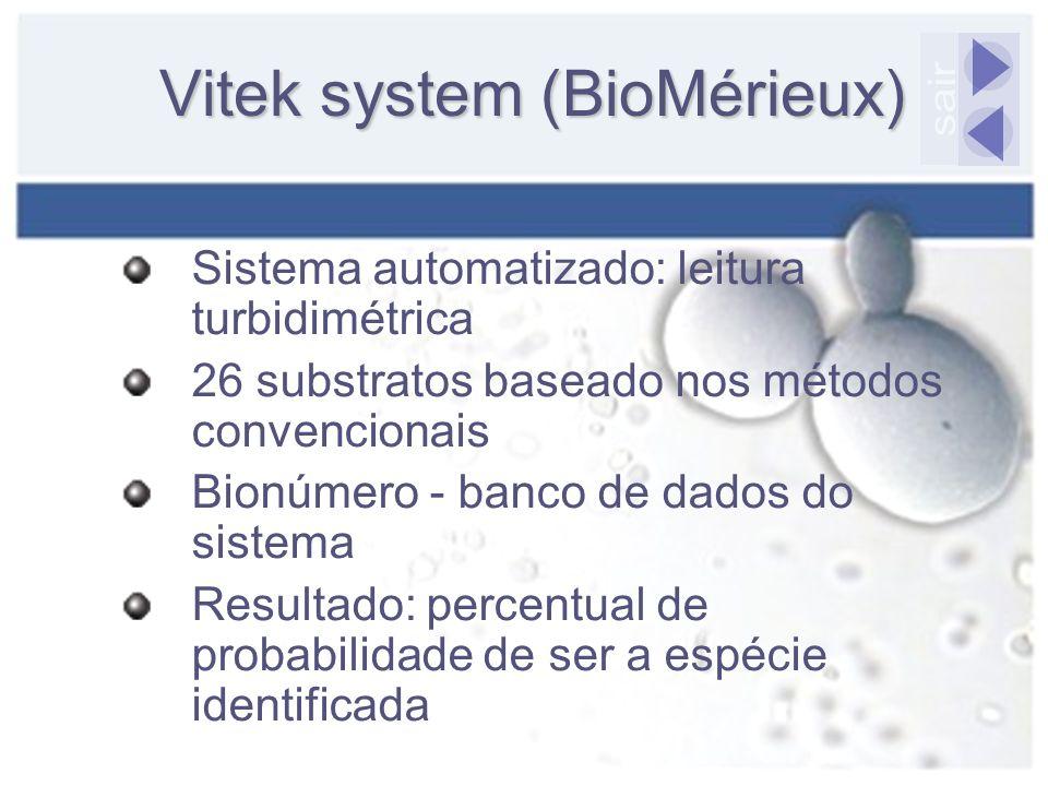Vitek system (BioMérieux) Sistema automatizado: leitura turbidimétrica 26 substratos baseado nos métodos convencionais Bionúmero - banco de dados do s