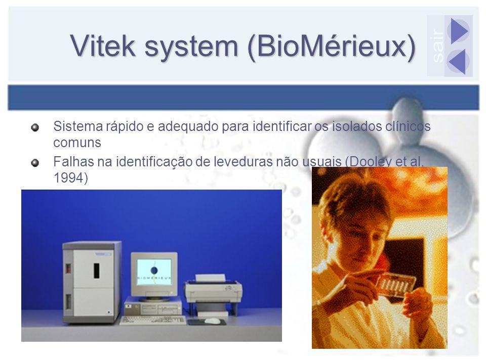 Vitek system (BioMérieux) Sistema rápido e adequado para identificar os isolados clínicos comuns Falhas na identificação de leveduras não usuais (Dool