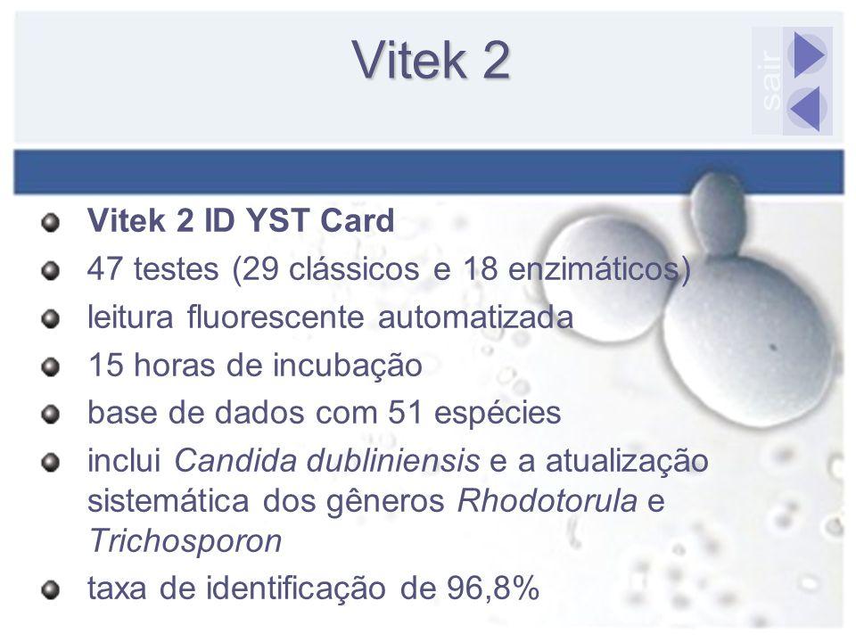 Vitek 2 Vitek 2 ID YST Card 47 testes (29 clássicos e 18 enzimáticos) leitura fluorescente automatizada 15 horas de incubação base de dados com 51 esp