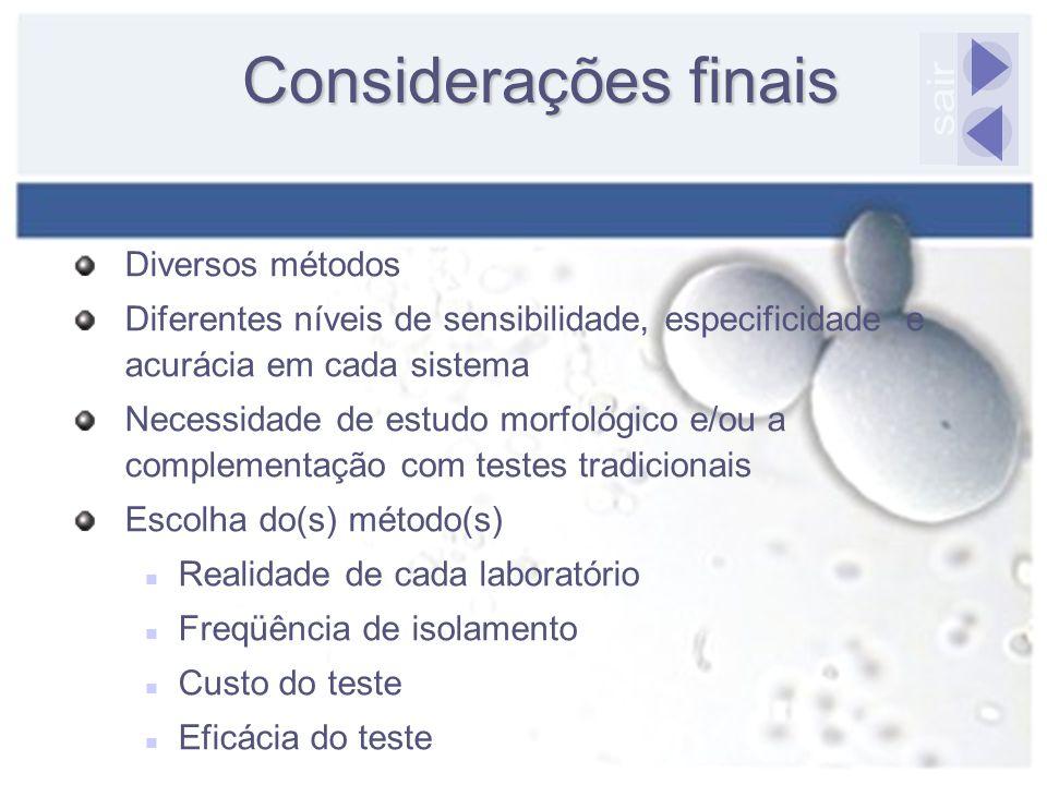 Considerações finais Diversos métodos Diferentes níveis de sensibilidade, especificidade e acurácia em cada sistema Necessidade de estudo morfológico