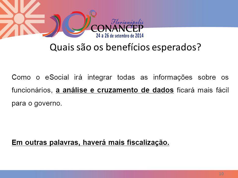 Quais são os benefícios esperados? 10 Como o eSocial irá integrar todas as informações sobre os funcionários, a análise e cruzamento de dados ficará m