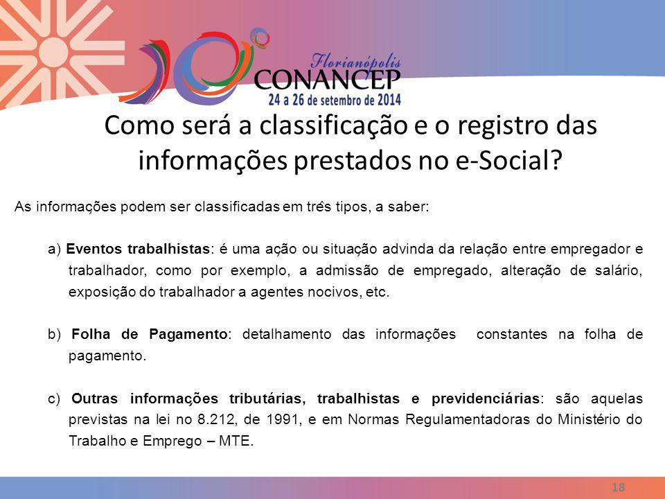 Como será a classificação e o registro das informações prestados no e-Social? 18 As informac ̧ ões podem ser classificadas em tre ̂ s tipos, a saber: