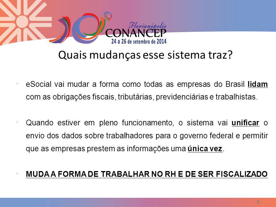 Quais mudanças esse sistema traz? 5 eSocial vai mudar a forma como todas as empresas do Brasil lidam com as obrigações fiscais, tributárias, previdenc
