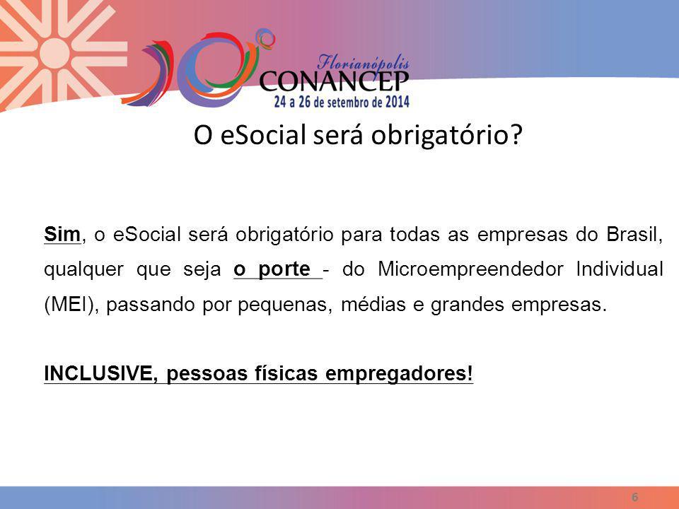 O eSocial será obrigatório? 6 Sim, o eSocial será obrigatório para todas as empresas do Brasil, qualquer que seja o porte - do Microempreendedor Indiv