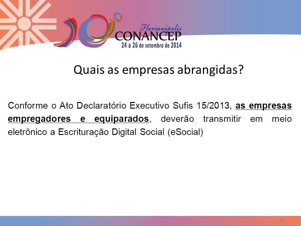 Quais as empresas abrangidas? 7 Conforme o Ato Declaratório Executivo Sufis 15/2013, as empresas empregadores e equiparados, deverão transmitir em mei