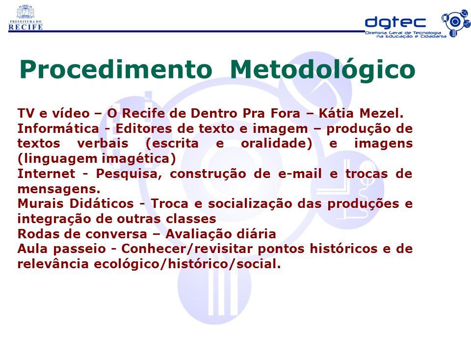 Procedimento Metodológico TV e vídeo – O Recife de Dentro Pra Fora – Kátia Mezel. Informática - Editores de texto e imagem – produção de textos verbai