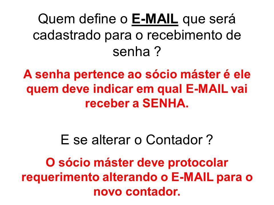 Quem define o E-MAIL que será cadastrado para o recebimento de senha ? A senha pertence ao sócio máster é ele quem deve indicar em qual E-MAIL vai rec