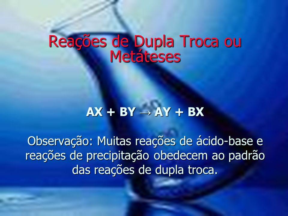 AX + BY → AY + BX Observação: Muitas reações de ácido-base e reações de precipitação obedecem ao padrão das reações de dupla troca. Reações de Dupla T