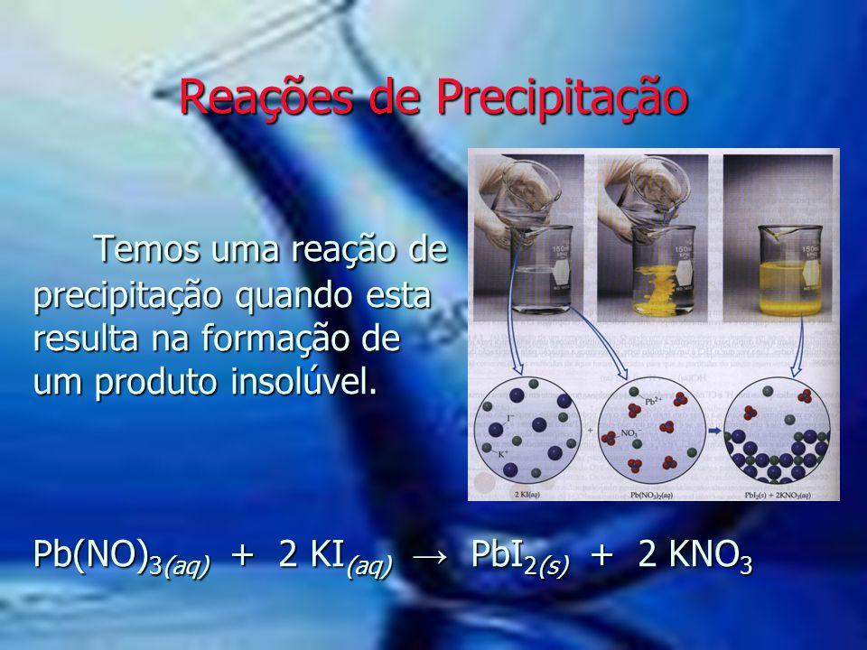 Temos uma reação de precipitação quando esta resulta na formação de um produto insolúvel. Pb(NO) 3(aq) + 2 KI (aq) → PbI 2(s) + 2 KNO 3 Temos uma reaç